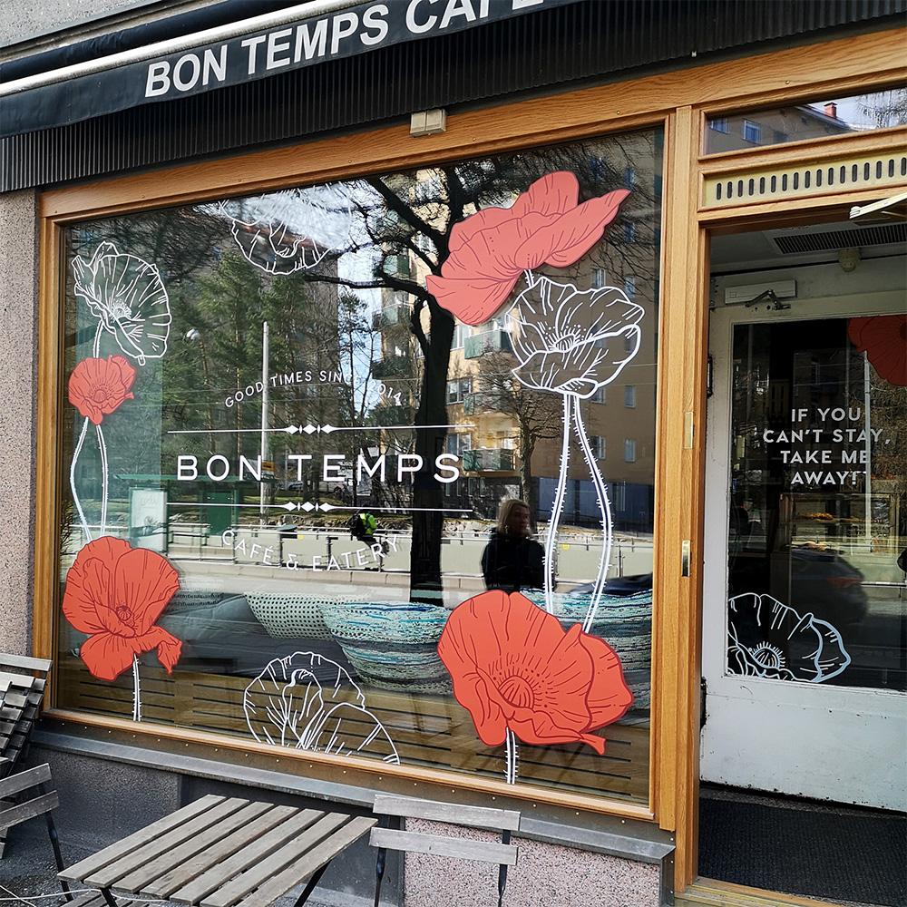 Bon Temps Cafe ikkunateippaukset